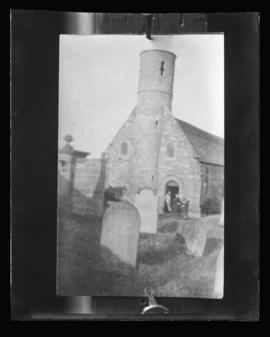 Photograph of a church tower and cemetery taken for Mrs. A.C. Bell
