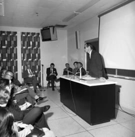 Photograph of a lecture or other event for the Dalhousie medical centennial