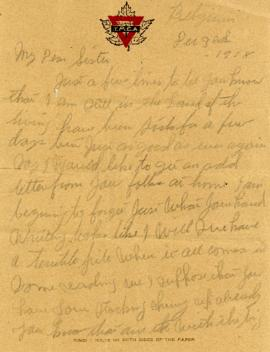 Letter from Weldon Morash to his sister Gertrude dated 3 December 1918