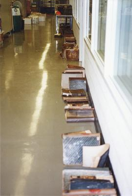 Photograph of a row of damaged books