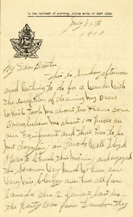 Letter from Weldon Morash to his brother Lloyd dated 28 July 1918
