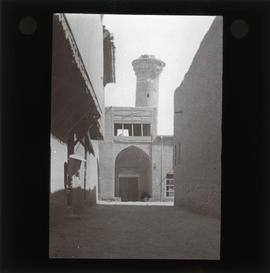 Photograph of a damaged minaret