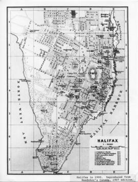 Photograph of a map of Halifax in 1900