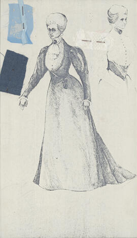 Photocopy of costume design for Mrs. Gabor
