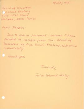 Resignation letter from Julia Schmitt Healy