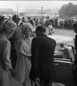 Photograph of Robert Stanfield greeting the Queen Mother