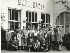 Photograph of a touring group, including Edith and Thomas Head Raddall, at the Marienlyst Hotel E...