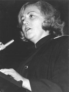 Photograph of Mary G. Hickman giving valedictorian speech to Class of 1972