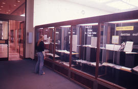 Photograph of the W.K. Kellogg Health Science Library display cases