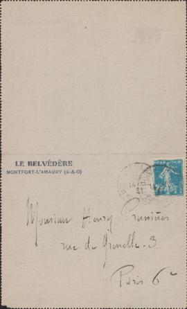 Letter from Maurice Ravel