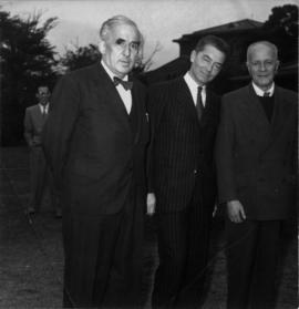 Photograph of Klaus Pringsheim, Herbert von Karajan and Manfred Gurlitt