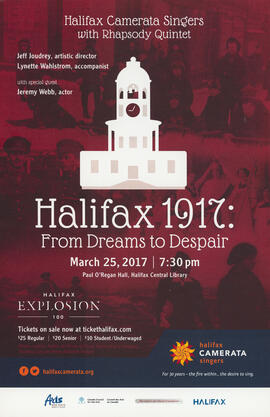 Halifax 1917 : from dreams to despair with Rhapsody Quintet and Jeremy Webb : [poster]