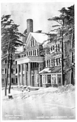 Postcard of Shirreff Hall in winter