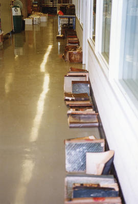 Photograph of a row of books damaged in the Killam fire
