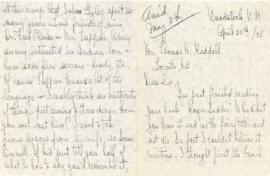 Correspondence between Thomas Head Raddall and Charlotte H. Winslow