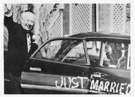 Photograph of Henry Hicks and Gene Morison leaving their wedding