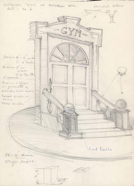 Sketch of outside the gym at Rydell High