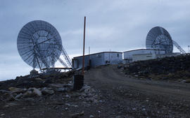 Photograph of transmission dishes in Frobisher Bay, Northwest Territories