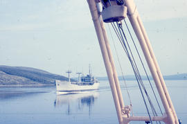 Photograph of a large ship in the narrows in Goose Bay, Newfoundland and Labrador