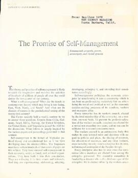 The promise of self management by Elisabeth Mann Borgese : [magazine article]