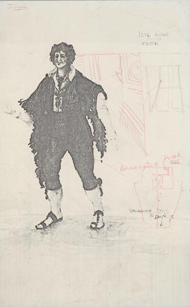 Photocopy of costume design for Feste