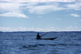 Photograph of a man in a kayak near George River, Quebec