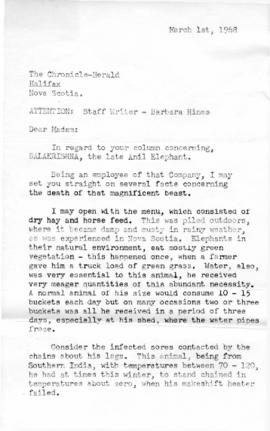 Letter from an anonymous writer to Barbara Hinds