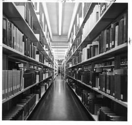 Photograph of book shelves in the Killam Memorial Library