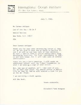 Correspondence between Elisabeth Mann Borgese and Carmen Artigas