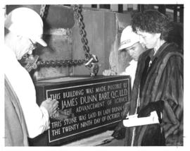 Photograph of Lady Dunn laying the cornerstone of the Sir James Dunn Science Building