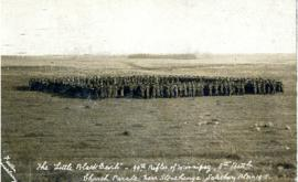 "Photograph of the ""Little Black Devils"" 90th Rifles of Winnipeg, 8th Battalion in a church parade..."