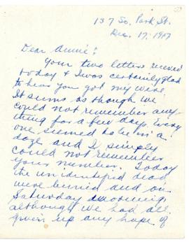 Letter from Katherine Creelman to Annie Creelman concerning the Halifax Explosion
