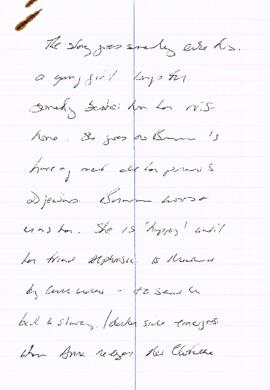 Song and hand written notes regarding Living Curiosities, the Story of Anna Swan
