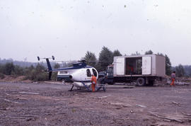 Photograph of an herbicide-spraying helicopter at Brier Island, Nova Scotia