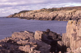 Photograph of geological formations on the coast of Brier Island, Nova Scotia