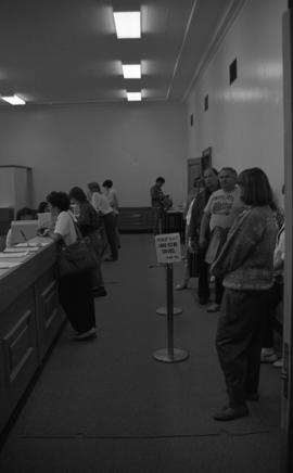 Photograph of registration lineups in 1988