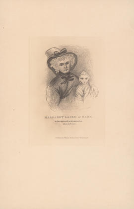 Engraving of portrait of Margaret Laird or Hare and baby: [1829]