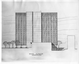 Drawing of the south elevation of the Sir Charles Tupper Medical Building