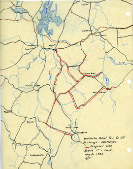 Map of Heatherton Mutual Telephone Company's telephone line