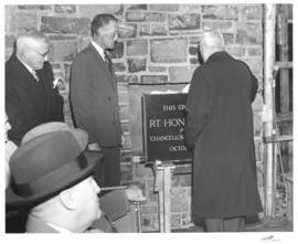 Photograph of the Cornerstone laying at Howe Hall the new Men's Residence