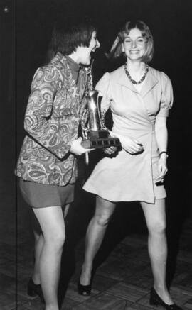 Photograph of Jeannie Collins and Debbie Williams : gymnastics award winners