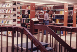 Photograph of the W.K. Kellogg Health Science Library top of staircase