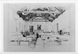 Photograph of a sketch of the Dalhousie University MacDonald Library interior