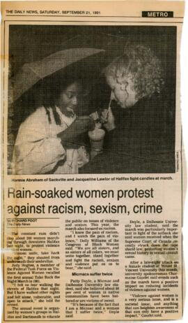 Newspaper clippings re. Take Back the Night and International Women's Day