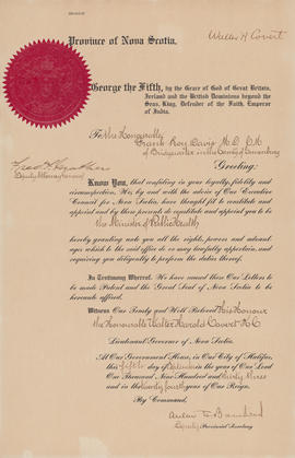 Proclamation of George V, appointment of F. Roy Davis to the post of Minister of Public Health [1...