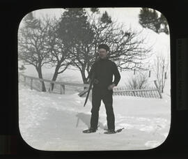 Photograph of unidentified man on snowshoes