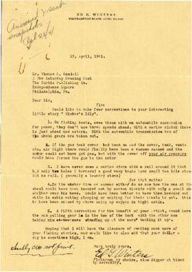 Correspondence between Thomas Head Raddall and Ed G. Winters