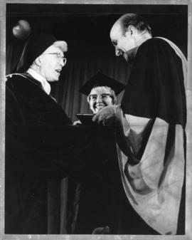 Photograph of Sister Marie Agnes receiving an honorary degree