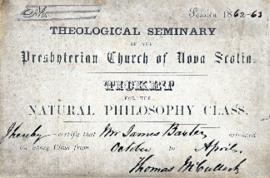 Ticket to a natural philosophy class at the theological seminary of the Presbyterian Church of No...