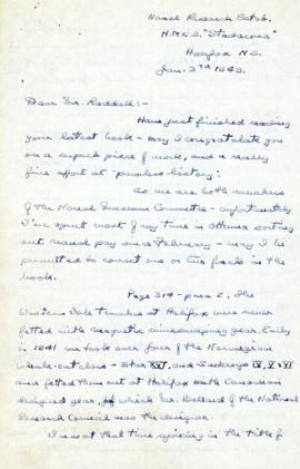 Correspondence between Thomas Head Raddall and A.F. Peers